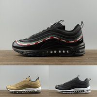 2018 NEW 97 Plus Olive in Metallic 12 Colorways Running Mens Shoes Sports Male Shoe Pack Triple Black TRIPLE WHITE