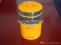 COHIBA Gadget Classic Gelb Zylindrische SIGLO VI Sheeny Porzellan Keramik Zigarre Tube Hermetic Jar MINI Humidor W / Gfit Box