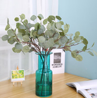 Green Artificial Leaves Large Eucalyptus Leaf Plants Silk Ar...