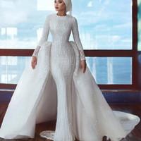 Saudi-Arabien Hijab Brautkleider mit abnehmbarem Zug Perlen Pailletten Meerjungfrau Langarm Muslim Brautkleider Kleider