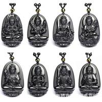 Natural Black Obsidian Geschnitzte Buddha Anhänger Halskette Hohe Qualität Glück Amulett Patron Perlenketten Für Frauen Männer Schmuck Geschenk NEU