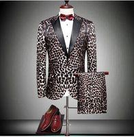 Brand new ليوبارد طباعة العريس البدلات الرسمية الذروة التلبيب زر واحد الرجال بدلة الزفاف عالية الجودة رجال الأعمال prom عشاء السترة (سترة + سروال + التعادل)