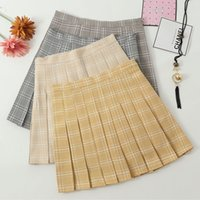 Plaid Skirt Preppy Style Pleated Above Knee Mini Length Natu...