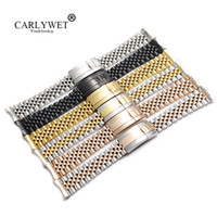 CARLYWET 20mm Al Por Mayor Hollow Curved End Solid Screw Links Reemplazo de Acero Jubileo Reloj Band Pulsera Para Datejust
