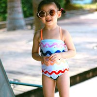 2-6T Costume da bagno per ragazza Rainbow Stripes Bikini per ragazza Costume da bagno per costumi da bagno Backless Swimwear Cute Bather Girls UV Baby
