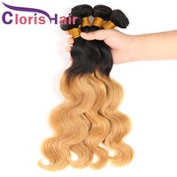 Visón Brazilian Malaysian Virgin Blonde Ombre Bundles 1B 27 Body Wave Hair teje raíces oscuras Honey Blonde extensiones de cabello humano 3pcs