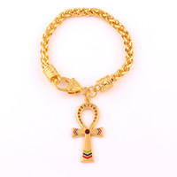Vintage ägyptischen Ankh Kreuz Symbol des Lebens Anhänger Armband Gold Farbe Charm Crystal Emaille Ornament Weizen Gliederkette