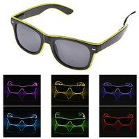 El óculos El Fio de Moda Neon LED Light Up Em Forma de Obturador Brilho Óculos de Sol Rave Traje Do Partido DJ Brilhante SunGlasses