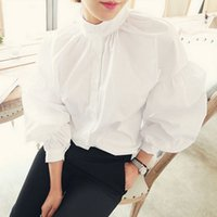 S- XL Size Retro Pleated Stand Collar Puff Loose Long White B...