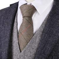 G81 브라운 카멜 헤링본 트위드 체크 7cm 망 넥타이 양모 무료 배송 도매 수제 캐주얼 비즈니스 공식