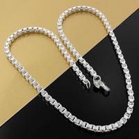 Feine 925 Sterlingsilber-Halskette, Art und Weise Männer Frauen 4mm Halskette XMAS Neue Art-reizende Kasten-Ketten-Halskette Link-Italien 2018 heißen Verkaufs-N16