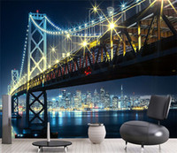 Custom 3D Wall Mural Wallpaper City Bridge At Night Living R...