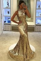 New Elegant Silver Gold Sequined Mermaid Prom Dresses 2018 Sparky Halter Sweep Train Abito da sera formale Backless Robes de Soirée Personalizzato