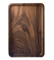 Wood Rectangular Serving Trays, Medium Size - Black Walnut W...