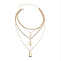 SRCOI Böhmen Gold Farbe Kreuz geschichteten Halskette Jesus Jungfrau Maria Kette Anhänger Halskette Ostern Tag Geschenk für Frauen Schmuck