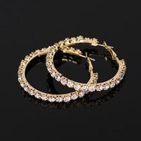55 мм * 6 мм 2018 новый дизайнер Кристалл Rhinestone серьги женщины золото Щепка Хооп серьги ювелирные изделия Серьги для женщин