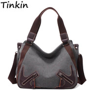 Tinkin Canvas Women Shoulder Bags Vintage Femal Handbag Tote...