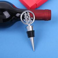 """الشحن مجانا 100 قطع """"السعادة المزدوجة"""" أنيقة كروم زجاجة النبيذ سدادة في آسيا تحت عنوان هدية مربع عرس الحسنات"""