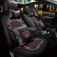 Crown Car Seat Cover Front Powrót Skórzane pokrowce na siedzenia Zestaw Uinversal Four Seasons Auto Akcesoria Wnętrze Dziewczyny Kobiet Samochód Stuld
