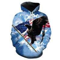 Blue Sky Flying Scratching Flag Eagle Print Funny Hooded Swe...
