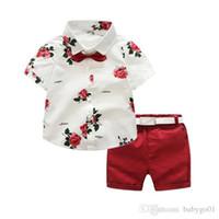 Meninos crianças formal conjunto de terno verão cavalheiro floral manga curta camisa shorts cinto 3 pcs roupas kid sets para 2-7 anos menino
