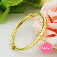 Ajustável Sizze Baby Bangles Linda alta polida 24k Amarelo banhado a ouro brilhante pulseira pulseira para bebês crianças crianças