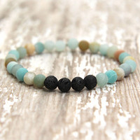 Essential Oil diffuser jewelry Popular 6mm Matte Amazonite B...