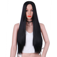Synthetic Long Straight Hair Wigs Black Color Full Wig for W...