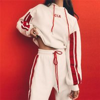 2018 Women New Arrival Letter Embroidery Red & White splicin...