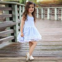 Cute Toddler Kids Baby Girls Ropa O-cuello de la niña azul a rayas sin espalda Bowknot vestido de encaje flor de algodón Princess Party Mini vestidos Sundress