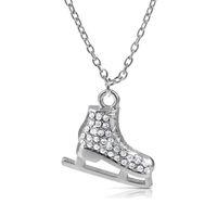 Свет посеребренные 3D коньки фигурист Кристалл трехмерный кулон ожерелье Шарма зима ювелирные изделия