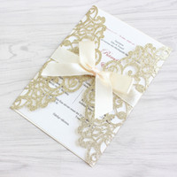 Hot Elegant Glittery Gold Silver Laser Cut Wedding Invitatio...