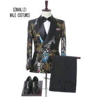 2018 Nueva marca elegante solapa del mantón de la boda traje para hombre flor de doble botonadura de los trajes de boda para hombre Slim Fit desgaste formal del novio esmoquin chaqueta