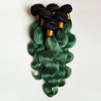 Moda para mujer Extensión del pelo de la pluma Colorido pelo ombre trama extensión trama sexy 1B / verde Dos tonos Sin procesar 8-28 pulgadas pelo chino