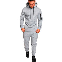 2018 New Mens Autumn Winter 2Pcs Tracksuit Joggers Casual Me...