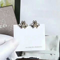2018 Top brass material Brand name bee stud earring with dia...