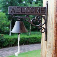Hierro fundido antiguo Cena de bienvenida Campana Rústica Marrón Colgante Decorativo Metal Craft Home Store Tienda Jardín al aire libre Timbre Decoración Vintage