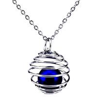 Argento 22mm Rotondo Spirale Palla Hollow Diffusore Olio Medaglione Donne Aromaterapia Perle Perla Oyster Cage Collana pendente-regalo Boutique