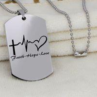 الفولاذ المقاوم للصدأ ملهمة للتوعية قلادة FAITH HOPE الحب ملهمة مجوهرات هدية قطرة الشحن YLQ6168