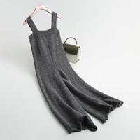 J751 Kore Moda kısa yün karışımları örme geniş bacak tulum bayanlar düz renk kış sıcak kazak askı pantolon tulum