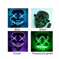 EL Wire Skull Ghost Face Mask Slit Mouth Light Up Glowing LE...