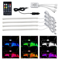 LED Car Interior Underdash Lighting Kit Sound Activated Control Lampada Atmosfera Strip Glow Neon Wireless controllo luci multicolore