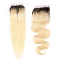 9a البرازيلي العذراء الإنسان الشعر نسج إغلاق الجسم موجة أو مستقيم t1b / 613 أومبير اللون bionde 4x4 إغلاق الدانتيل