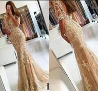 Gold Prom Dresses With Sleeves Applique Lace Beaded Mermaid ...