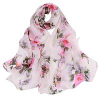 осенние шелковые шелковые шарфы и обертывания для женщин Персиковый цветной печати Длинные мягкие обертки Женская вуаль