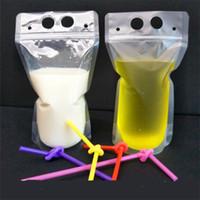 Transparente Wasserflaschen Getränke Beutel Klar Getränke Tasche Frosted selbstversiegelt Milch Kaffeensaft Trinken Plastiktüten Tragbar 0 29RF Z
