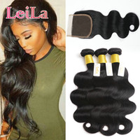 Peruvian Virgin Hair Body Wave 3 Bundles With 4X4 Lace Closu...