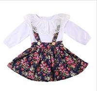 Vieeoease Kız Setleri Bebek Giyim 2018 Bahar Uzun Kollu Pamuklu Tişört + Kolsuz Yelek Elbise Çocuk Kıyafetler 2 adet EE-113