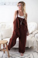 Summer New Women Casual Loose Bodysuits Linen Cotton Jumpsui...