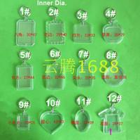 무료 배송 35pcs 빈 아크릴 키 체인 삽입 사진 플라스틱 열쇠 고리 사각형 키 사각형 심장 순환 액세서리